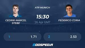 Cedrik-Marcel Stebe - Federico Coria » Live Score & Stream + Odds, Stats,  News