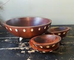 baribocraft canada vtg large 13 wood serving salad bowls set rustic primitive