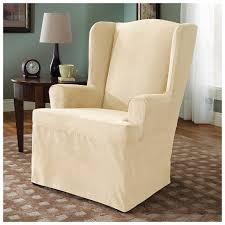 cover furniture. Microsuede Wing Chair Furniture Cover, Cream Cover Furniture A