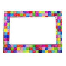 Individual Graph Paper Colorful Colored In Graph Paper Squares Magnetic Photo Frame