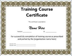 Certificate Of Training Completion Template Training Certificate Templates Free Download Safety Template