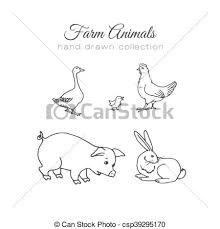 Farming Illustration Vector Farm Elements Hand Drawn Farm Animals