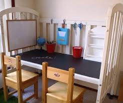 repurposed crib craft center