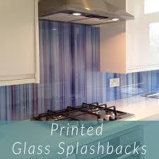 printed glass splashback in purple multi stripe