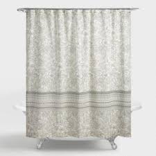 Beige shower curtains Taupe Black And Ivory Dotted Floral Nadine Shower Curtain World Market Shower Curtains Shower Curtain Rings World Market