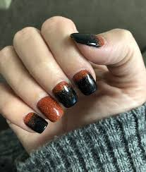 Fall Nail Designs 2018 Perfect Fall Nails Black And Orange Hombre Powder Dip