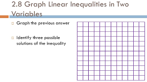 2 8 graph linear inequalities in two variables