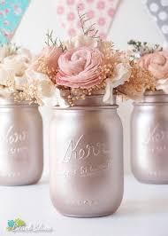 Mason Jar Decorations For Bridal Shower Rose Gold Wedding Decor Blush Wedding Centerpiece Painted Mason 47