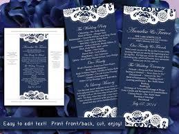 Vintage Lace Wedding Program Microsoft Word Template Dark Navy