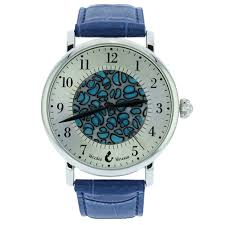 murano glass men s millefiori watch with leather band blue