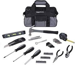 AmazonBasics <b>65</b> Piece Home Basic Repair Tool <b>Kit Set</b> With Bag ...