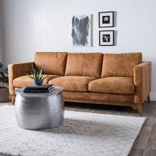Cool Tan Leather Sofa Filmore 89 Inch Tan Leather Sofa Free Shipping Today  Overstock