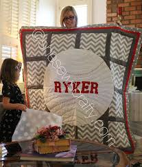 36 best Quilts: Sports Theme images on Pinterest | Patchwork ... & Custom made chevron, polka dots, baseball quilt, with grey and red accents. Adamdwight.com