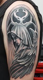 ангел Cover Up мужская тату на плече фото татуировок