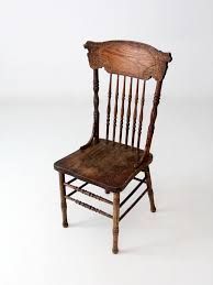 antique oak press back chair 86 vintage