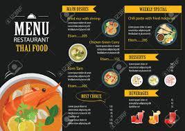 Resturant Menu Template Vector Thai Food Restaurant Menu Template Flat Design Royalty Free