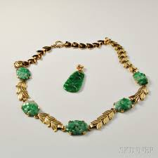 14kt gold and jade necklace and pendant
