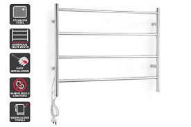 kromo 4 bar stainless steel heated towel rail 75cm wide heated towel bar c91