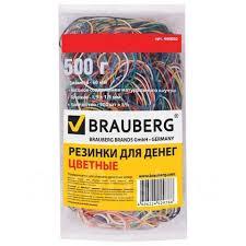 Резинка банковская <b>Brauberg</b> 500гр, 900шт/упак, <b>цветная</b> ...