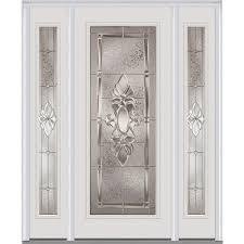 heirlooms right hand inswing full lite decorative painted steel prehung front door with sidelites