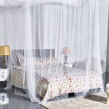 Zeny White Four Corner Post Bed Princess Canopy Mosquito Net, Full ...