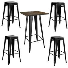amerihome loft style 24 in x 24 in bar table set in black with