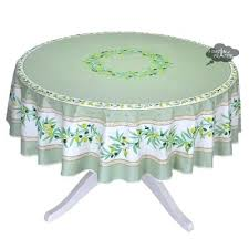 french coated tablecloths round green white coated cotton tablecloth by