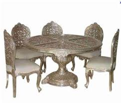 indian dining table 6 chairs. royal indian dining table round 6 seater silver art furniture - chairs d