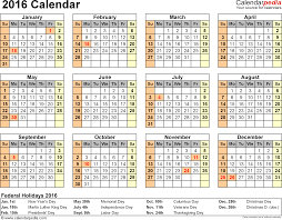 calendar printable excel templates xls template 8 2016 calendar for excel year at a glance 1 page