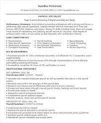 Payroll Executive Experience Resume
