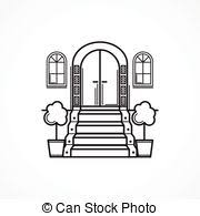 front door clipart black and white. Line Vector Icon For Front Door - Black Single Vector. Clipart And White