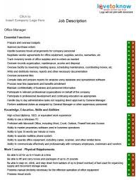 office manager sample job description examples of job description for a manager