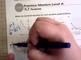 conics parabola worksheet 1