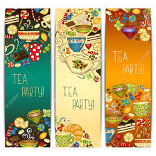 tea party templates banner templates vector collection tea party royalty free cliparts