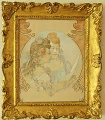 french art nouveau watercolor painting with giltwood frame ca 1900
