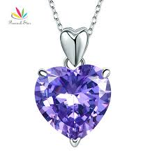 purple heart created diamond pendant necklace bridesmaid sku