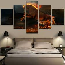 printed modular frame picture large canvas painting for bedroom 5 panel flame horse living room home