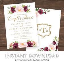 Couple Wedding Shower Invitations Couples Wedding Shower Invitation Template Editable Couples Wedding Shower Template Watercolor Roses Marsala Burgundy