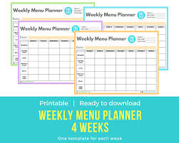 one week menu planner menu planner template printable planificador de menu