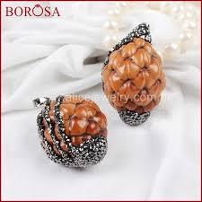 borosa fashion and beautiful natural wood pine cone pendant bead paved zircons jab269 kdcs8148