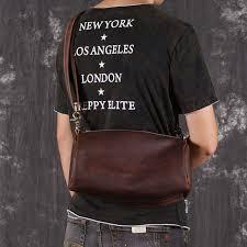 Cowboy style Vintage Genuine Leather messenger <b>bag Men</b> ...
