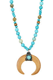 image of panacea turquoise beaded wood horn pendant necklace