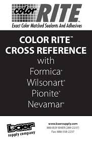 Sealant Cross Reference Chart Color Rite Cross Reference With Formica Wilsonart