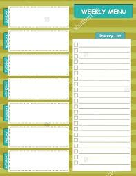 Weekly Menu Template Meal Planning Templates Lab Planner