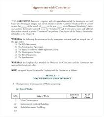 Simple Contractor Agreement Template Simple Contract Agreement Form 9 Sample Agreements Templates
