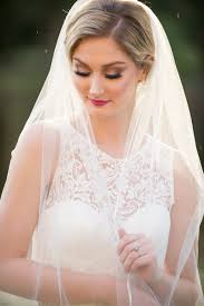 elegant traditional outdoor garden bridal portrait with veil and white lace illusion wedding dress ta bay wedding hair and makeup by michele renee the