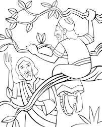 Documents similar to 204c_tiny bible treasures 08_zacchaeus meets jesus_flannelgraph_color. Bible Coloring Page For Sunday School Zacchaeus Come Down