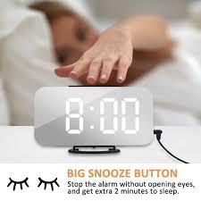 led digital desktop mirror alarm clock snooze display time with dual usb port for phone