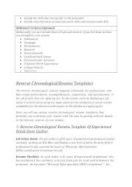 Free Blank Chronological Resume Templates Download Word Examples ...