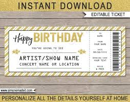 Printable Concert Ticket Template Stunning Concert Ticket Birthday Gift Printable Template Surprise Concert